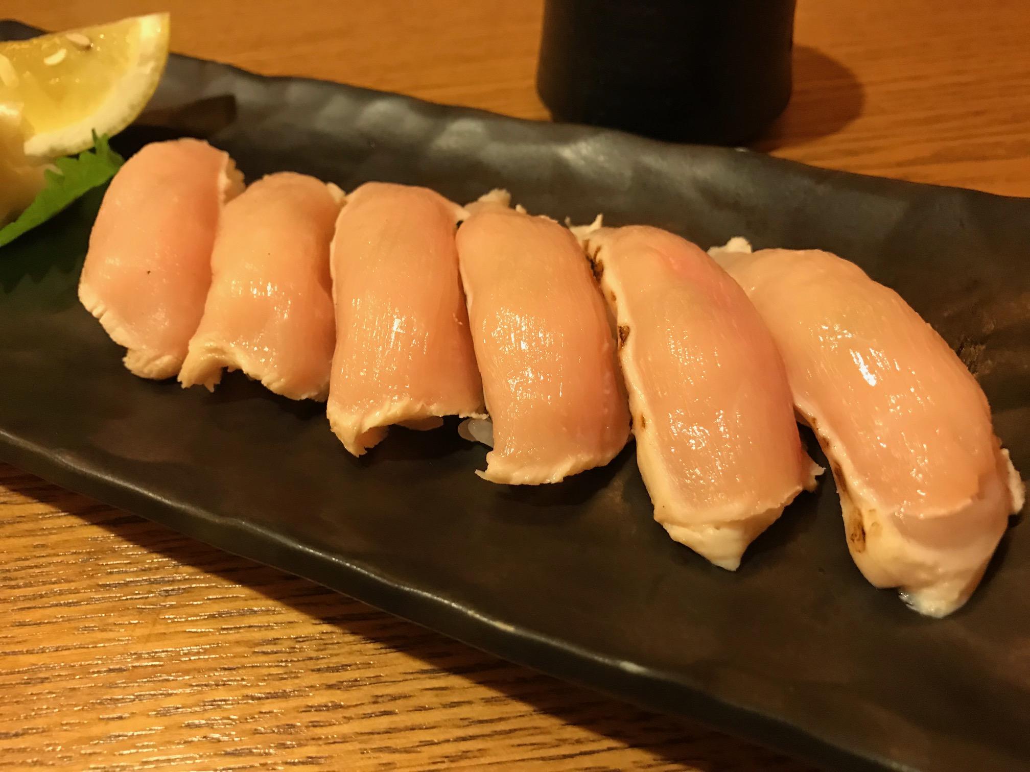 久米島赤鶏の握り寿司